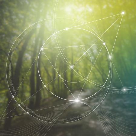 Heilige Geometrie. Mathematik, Natur und Spiritualität in der Natur. Die Formel der Natur. Es gibt keinen Anfang und kein Ende des Universums, und keinen Anfang und kein Ende des Lebens und der Glückseligkeit. Vektorgrafik