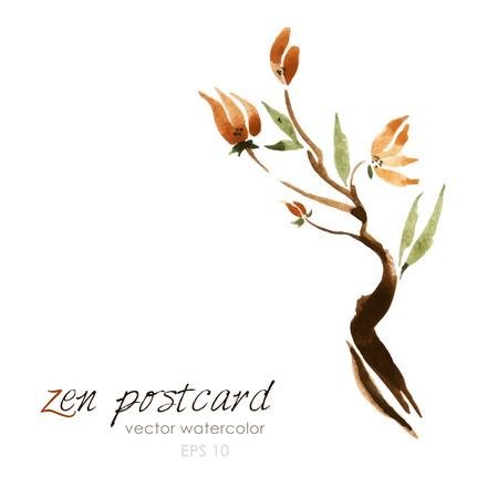 Chinese schilderkunst - zen-achtige natuurlijke handgemaakte vector aquarel bloem illustratie op wit