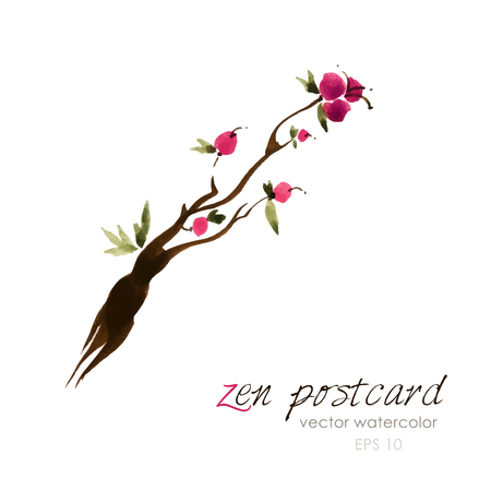 zenlike: Chinese painting - zen-like natural hand-made vector watercolor flower illustration on white