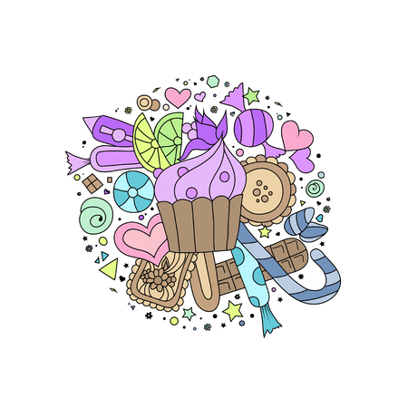 jellybean: Hand drawn doodle style outline cupcakes, cookies, sweets and chocolate on white Illustration
