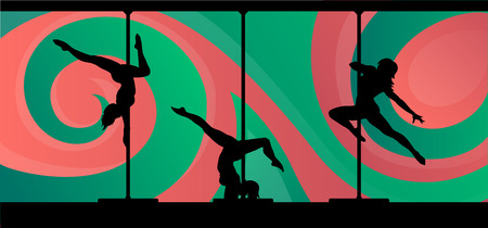 striptease women: Black vector silhouettes of female pole dancers performing pole moves on abstract background. Illustration