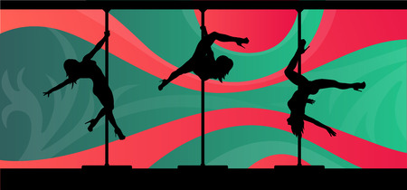 stripper: Black vector silhouettes of female pole dancers performing pole moves on abstract background. Illustration