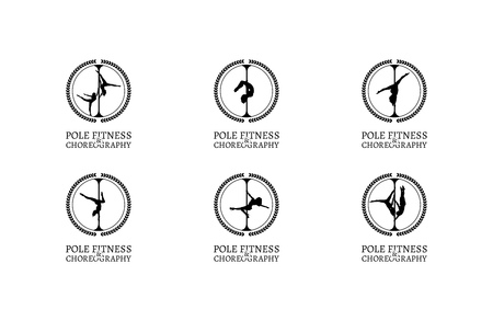 school dance: Set of Pole Dance School Badges. Corporate Identity for Pole Dance School.
