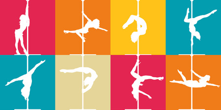 Flat style pole dance and pole fitness icons. Colorful vector silhouettes of female pole dancers. Illustration