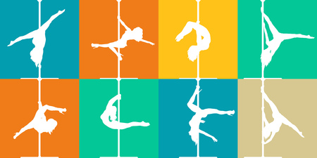 stripper: Flat style pole dance and pole fitness icons. Colorful vector silhouettes of female pole dancers. Illustration