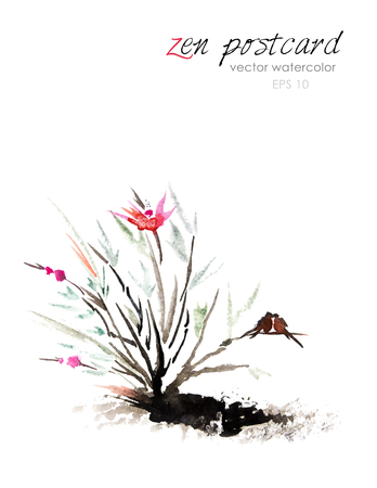 Chinese painting - zen-like natural hand-made vector watercolor flower illustration on white