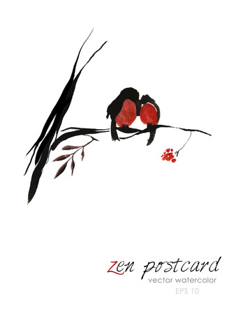 zenlike: Chinese painting - zen-like natural hand-made vector watercolor illustration. Two red winter birds sitting on a rowan tree branch on white background. Illustration
