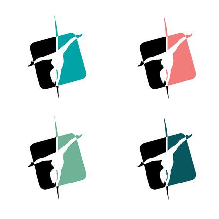 stripper: Set of Pole Dance School Badges. Corporate Identity for Pole Dance School.