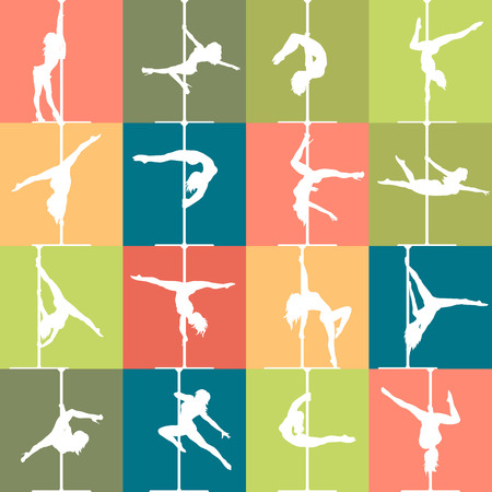 pole dance: Flat style pole dance and pole fitness icons. Colorful vector silhouettes of female pole dancers. Illustration