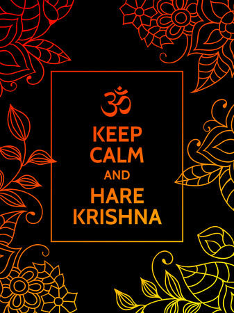 mantra: Keep calm and Hare Krishna. Yoga mantra motivational typography poster on black background with colorful orange and yellow floral pattern. Yoga and meditation studio poster or postcard.