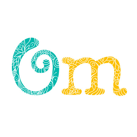 mantra: Om mantra lettering with floral pattern. Yoga and meditation studio emblem on white background