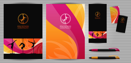 school dance: Vector Yellow and Pink Pole Dance and Aerial Sports School Corporate Identity and Stationery Templates Set. Document, Book