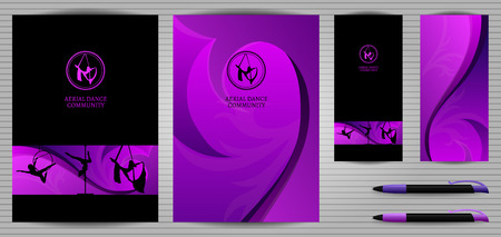 pole dancer: Vector Purple and Black Pole Dance and Aerial Sports School Corporate Identity and Stationery Templates Set. Document, Book