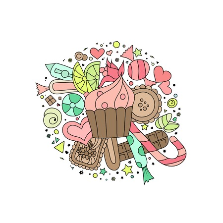 marmalade: Hand drawn doodle style outline cupcakes, cookies, sweets and chocolate on white Illustration