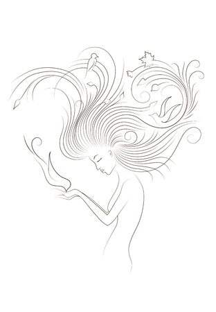 long red hair: Autumn Style Fantasy Outline Sketch of Young Woman with Long Red Curly Hair Feeding the Bird from Hands, Surrounded by Birds and Maple Leaves. Black outline isolated on white. Illustration