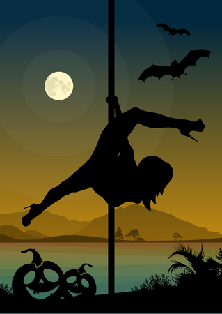 stripper: Black silhouette of female pole dancer performing pole moves in front of river landscape and full moon at Halloween night