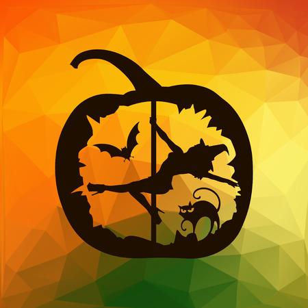 Schwarze Silhouette der weiblichen Poltänzer in Halloween Kürbis geschnitzt auf Herbst abstrakten bunten geometrischen Dreiecke Hintergrund. Vektorgrafik