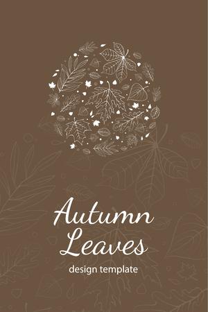 postcard design: Autumn leaves postcard design template white outline on brown Illustration