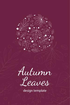 postcard design: Autumn leaves postcard design template white outline on purple