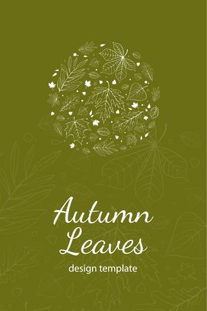 postcard design: Autumn leaves postcard design template white outline on green