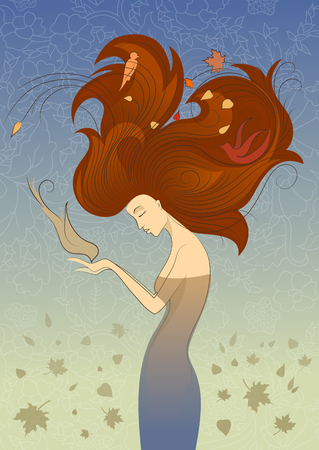 long red hair: Autumn Style Fantasy Outline Sketch of Young Woman with Long Red Curly Hair Feeding the Bird from Hands, Surrounded by Birds and Maple Leaves on Blue Background.