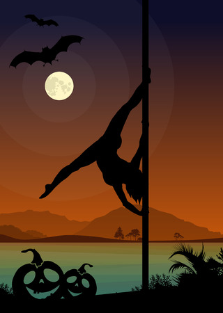 pole dancer: Black silhouette of female pole dancer performing pole moves in front of river landscape and full moon at Halloween night