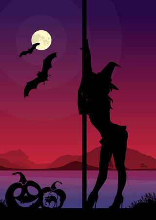 Black silhouette of female pole dancer performing pole moves in front of river landscape and full moon at Halloween night