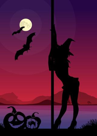 Zwart silhouet van vrouwelijke pole danser het uitvoeren van pole beweegt in de voorkant van rivierenlandschap en volle maan in de nacht van Halloween
