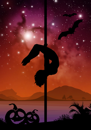 pole dance: Black Halloween style silhouette of female pole dancer. performing pole moves in front of river and stars. Pole dancer in front of space background with Halloween elements.