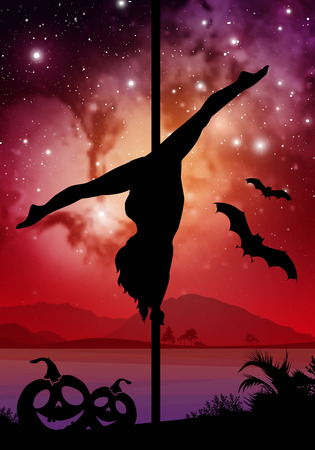 Black Halloween style silhouette of female pole dancer. performing pole moves in front of river and stars. Pole dancer in front of space background with Halloween elements.
