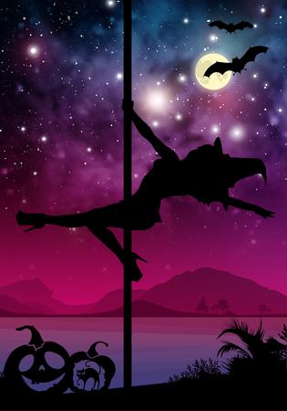 Negro silueta de Halloween bailarina de barra de sexo femenino. realizar movimientos poste delante del río y las estrellas. bailarina de barra en frente de fondo del espacio con elementos de Halloween.