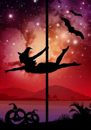 Zwarte Halloween stijl silhouet van vrouwelijke paaldanseres. het uitvoeren van pole beweegt in de voorkant van de rivier en sterren. Paaldanseres in de voorkant van de ruimte achtergrond met Halloween elementen.
