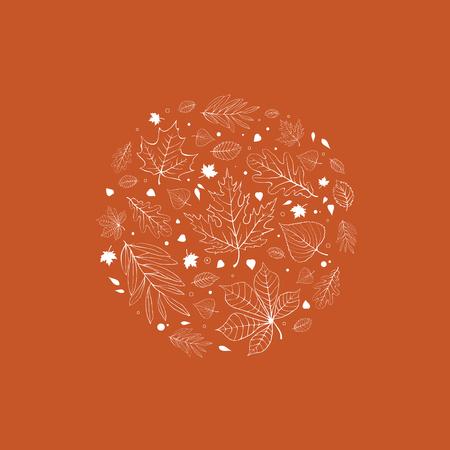 aspen tree: Autumn leaves design white outline on orange background