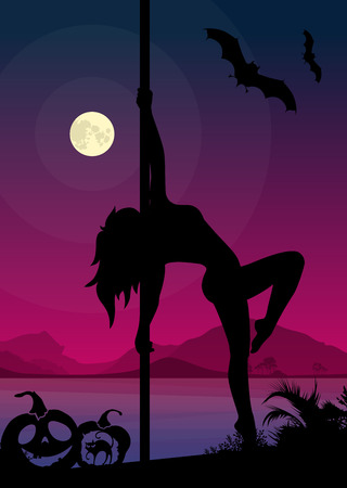 pole dancer: Black vector silhouette of female pole dancer performing pole moves in front of river landscape and full moon at Halloween night