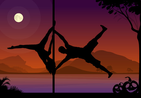 of helloween: Halloween Style Silhouette of Pole Dancers. Black vector silhouette of male and female pole dancer performing duo tricks in front of river and full moon at night. Illustration