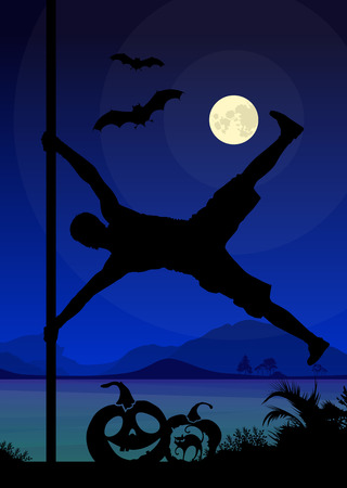 pole dancer: Halloween Style Silhouette of Pole Dancers. Black vector silhouette of male pole dancer performing pole moves in front of river and full moon at night .