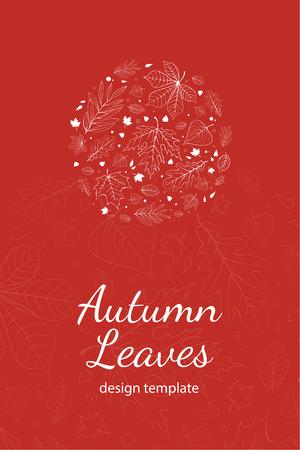 postcard design: Autumn leaves postcard design template white outline on red Illustration