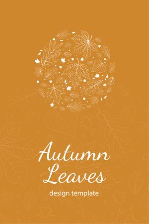 postcard design: Autumn leaves postcard design template white outline on yellow
