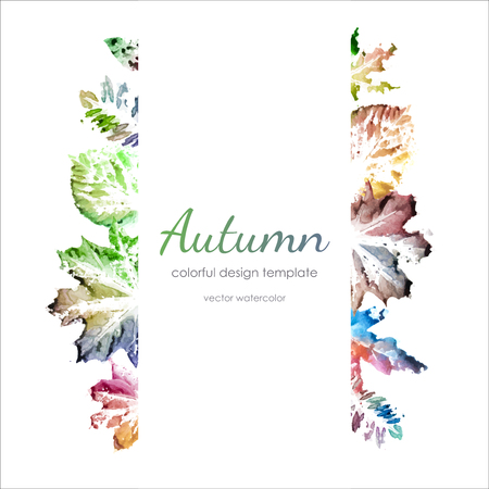 spilling: Watercolor autumn leaves design template with copy space. Natural watercolor leaf prints. Colorful watercolor autumn frame.