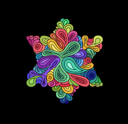 hexagram: Doodle style colorful hexagram illustration. Colorful zentangle hexagram sketch. Hexagram tattoo sketch. Ethnic wavy six points star vector illustration on black.