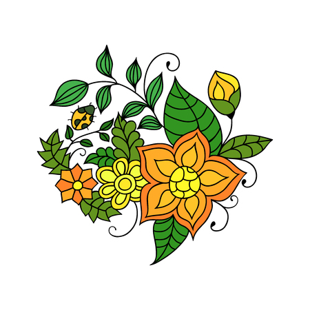 lush foliage: Colorful zentangle floral doodle sketch. Orange and yellow flowers and leaves vivid tattoo sketch. Ethnic tribal floral illustration Illustration