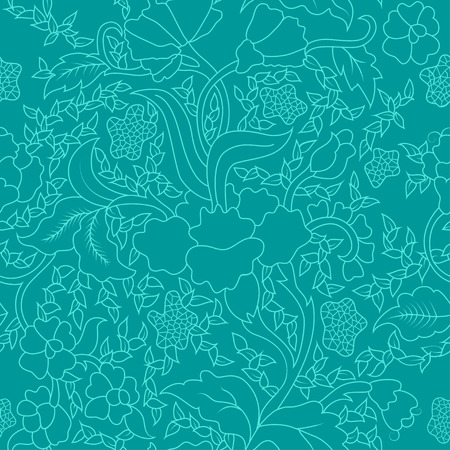 bhutan: Colorful Blue East Asian Seamless Repeating Floral Pattern