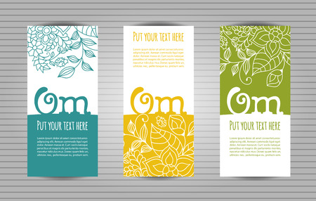 mantra: Om mantra lettering with floral pattern long flyer. Yoga and meditation studio long flyer or trifold templates. Illustration