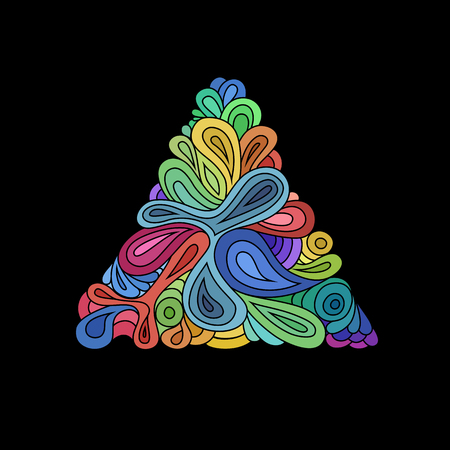 Wavy hipster triangle. Hand-drawn triangle composed from waves and curves on black background. Retro hipster colorful design template.