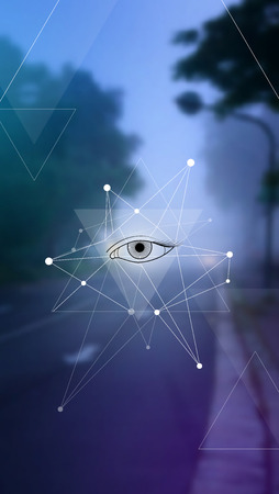 Masonic eye in a pyramid, hipster triangles and molecule structure background on blur photo background.