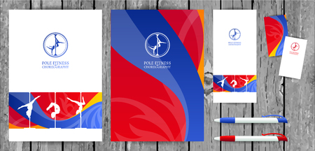 Yellow and Pink Pole Dance and Aerial Sports School Corporate Identity and Stationery Templates Set. Illustration