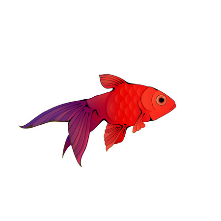 Hand-drawn ink-stylized little goldfish swimming in blue water. Illustration