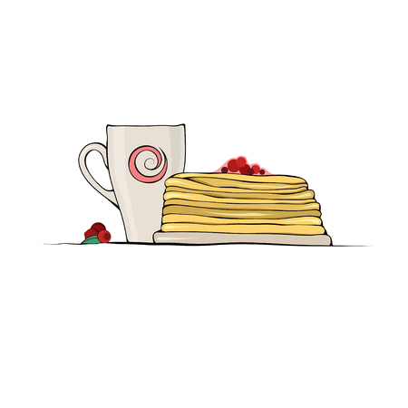 confiture: Outline Sketch Stack of Pancakes with Cranberry Jam and Cup of Coffee on white background.
