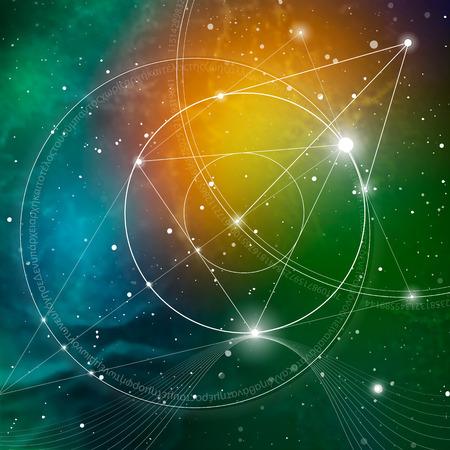Geometría sagrada. Las matemáticas, la naturaleza y la espiritualidad en el espacio. La fórmula de la naturaleza. No hay principio ni fin del Universo, y no hay principio ni fin de la vida y el placer. Foto de archivo - 67021296