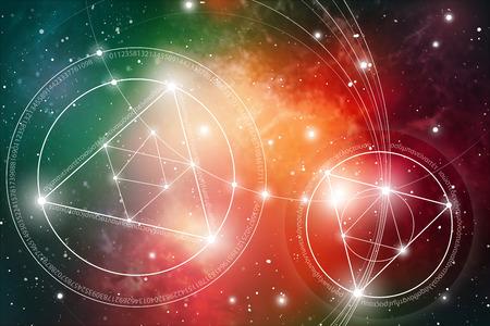 神聖な幾何学。数学、自然と宇宙の霊性。自然の数式です。始まりと宇宙と始まりの終わりのないとライフと至福の終わりがあります。